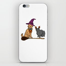 Cute Dog & Cat with Witch Broom Halloween iPhone Skin