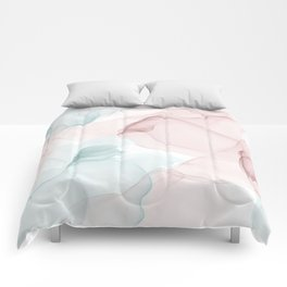 Blush and Blue Flowing Abstract Painting Comforters