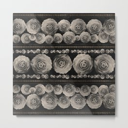 Vintage Floral with Golden Accents #1 Metal Print