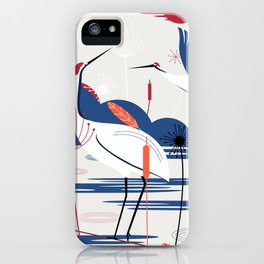 Harmony painting of natural imprinted cranes and plants iPhone Case