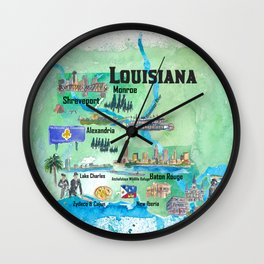 USA Louisiana State Travel Poster Map with Tourist Highlights Wall Clock