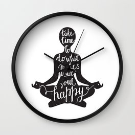 Meditation black silhouette with quote about time and soul on white background Wall Clock