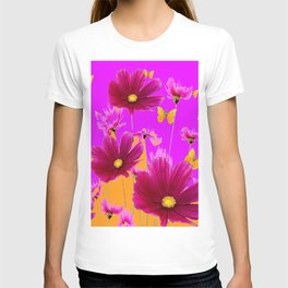 DECORATIVE YELLOW BUTTERFLIES & FUCHSIA PURPLE SPRING FLOWERS GARDEN ART T-shirt
