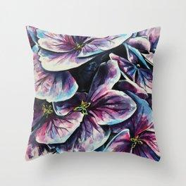purple flowers watercolor art Throw Pillow