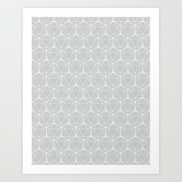 Icosahedron Soft Grey Art Print