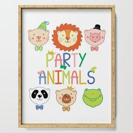 Party Animals Colorful Rainbow Letters Cute  design Serving Tray