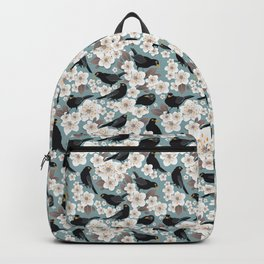 Waiting for the cherries I // Blackbirds blue background Backpack