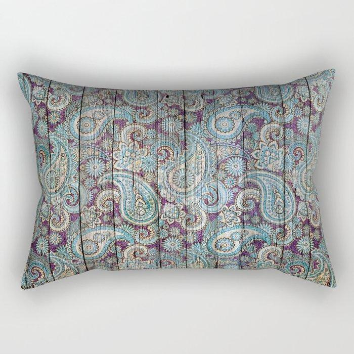 Kashmir on Wood 06 Rectangular Pillow