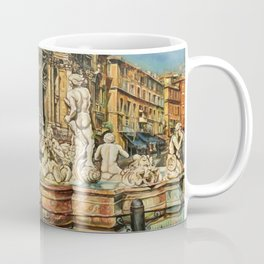 Piazza Navona fountain through oil without restoration Coffee Mug