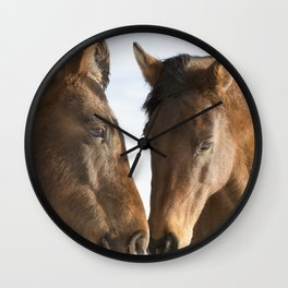 Two Western Horses Wall Clock