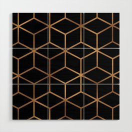 Black and Gold - Geometric Cube Design Wood Wall Art