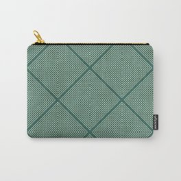 Stitched Diamond Geo Grid in Green Carry-All Pouch