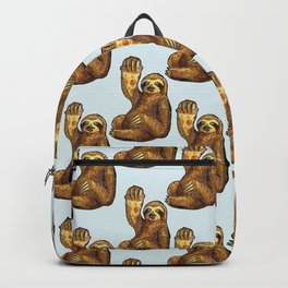 sloth eating pizza pattern Backpack