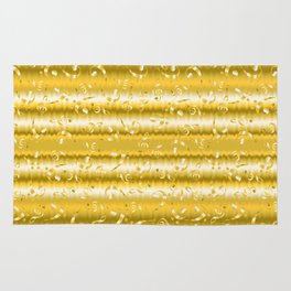 Faux Gold Metallic Treble and Bass Musical Notation Rug
