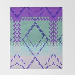 Purple mint green and blues diamond Aztec inspired Design Throw Blanket