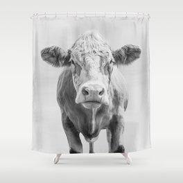 Animal Photography | Cow Portrait Minimalism | Farm animals | black and white Shower Curtain