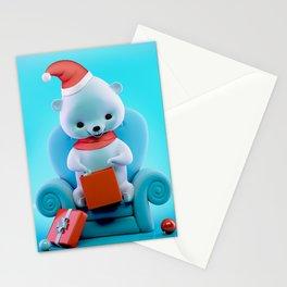 Teddy Bear With Christmas Box Stationery Cards
