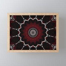 Deep Ruby Red Mandala Design Framed Mini Art Print