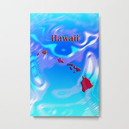 Hawaii Map Metal Print