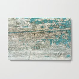 Rustic Wood Turquoise Weathered Paint Wood Grain Metal Print