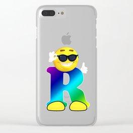 Letter R Alphabet Smiley Monogram Face Emoji Shirt for Men Women Kids Clear iPhone Case
