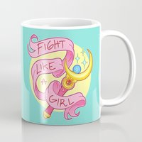stickers Mugs featuring Fight Like a Girl by ♡ SUSHICORE ♡
