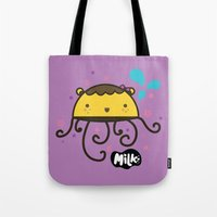 musa Tote Bags featuring Lusa Musa© of MILK FACTORY ® by Mimi Guarnero