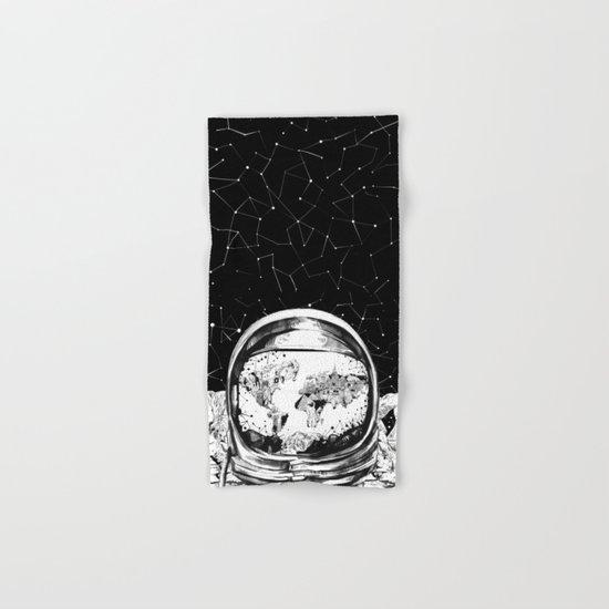 astronaut world map black and white 1 Hand & Bath Towel