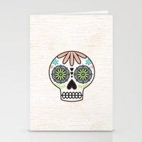 sugar skull Stationery Cards featuring Sugar Skull by Liz Urso