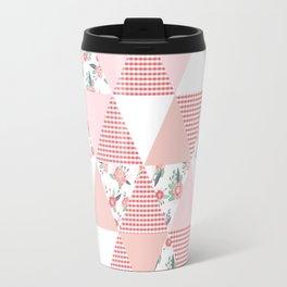 Quilt quilter cheater quilt pattern florals pink and white minimal modern nursery art Travel Mug