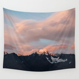 Alaskan Mountain Sunset (Pink) Wall Tapestry