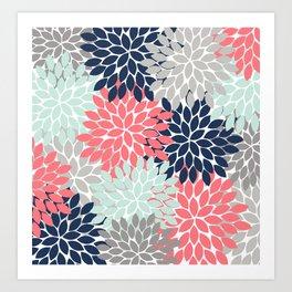 Flower Burst Petals Floral Pattern Navy Coral Mint Gray Art Print