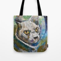 space cat Tote Bags featuring Space Cat by Michael Creese