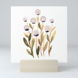 Simple watercolor flowers - purple and olive Mini Art Print