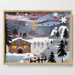 Digital illustration of Winter evening . Quilting. Patchwork . Serving Tray