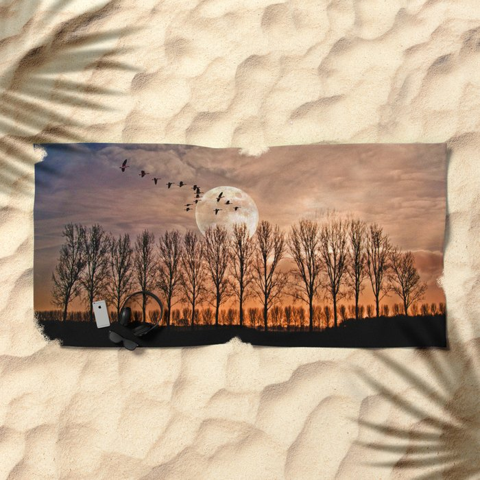 Night of the wild geese Beach Towel