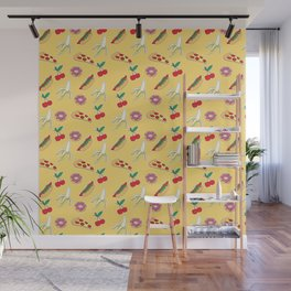 Modern yellow red fruit pizza sweet donuts food pattern Wall Mural