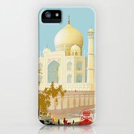 Visit India - Taj Mahal - Vintage Travel Poster iPhone Case