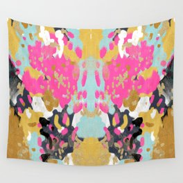 Laurel - Abstract painting in a free style with bold colors gold, navy, pink, blush, white, turquois Wall Tapestry