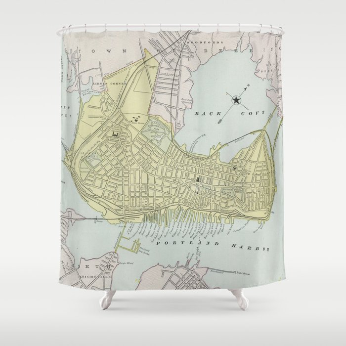 Vintage Map Of Portland Maine 1889 Shower Curtain
