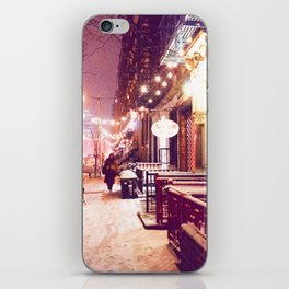 Winter Night with Snow in the East Village New York City iPhone Skin