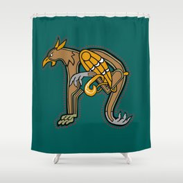 Celtic Medieval Griffin Letter N 2019 Shower Curtain