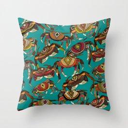 crabs teal Throw Pillow