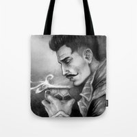 "dragon age inquisition Tote Bags featuring Dragon Age Inquisition - Dorian Pavus - Morning tea by Barbara ""Yuhime"" Wyrowińska"