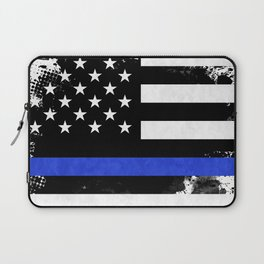 Distressed Thin Blue Line American Flag Laptop Sleeve
