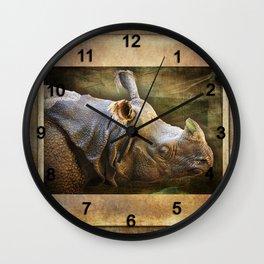 Weathered Rhino Profile Wall Clock
