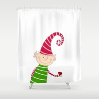 elf Shower Curtains featuring Christmas Elf  by Designs By Misty Blue (Misty Lemons)