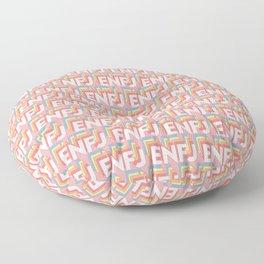 ENFJ Trendy Rainbow Text Pattern (Pink) Floor Pillow