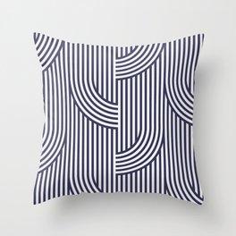 Blue retro lines Throw Pillow