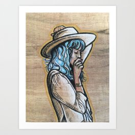Wooden cowgirl Art Print